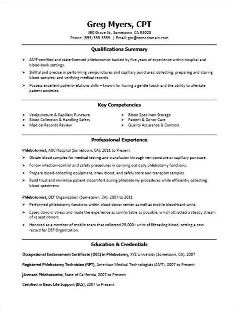 resume builder for phlebotomist 1000 ideas about sle resume on resume builder student resume and cover letter