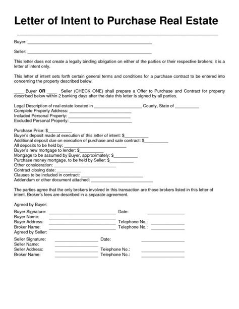 letter  intent  purchase real estate template business