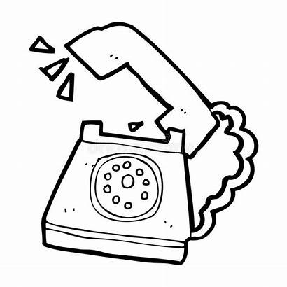 Cartoon Telephone Ringing Clipart Line Vector Retro