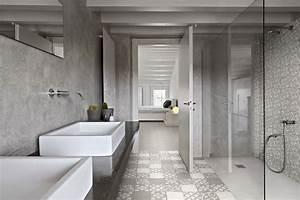 Carreaux De Ciment Salle De Bain : salle de bain decoree avec des carreaux de ciment gris et ~ Melissatoandfro.com Idées de Décoration