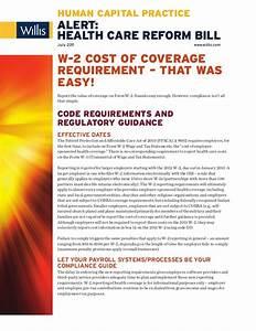 Alert - Health Care Reform Bill - W-2 Cost of Coverage ...