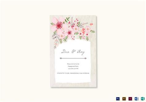 Pink Floral Engagement Announcement Card Design Template