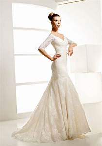 elegant mermaid v neckline lace wedding dress with half With wedding dresses half sleeve