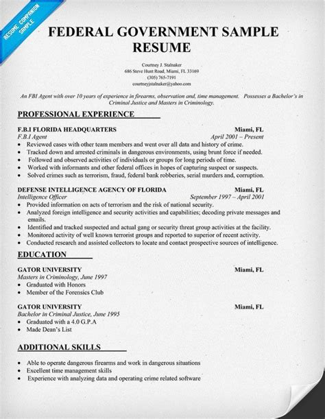 Government Resume Template by Federal Government Resume Template Resumecompanion