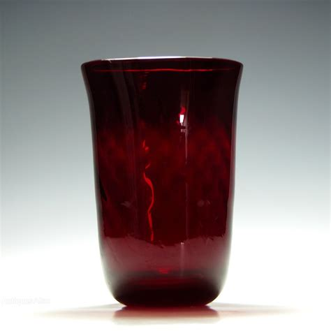 Whitefriars Glass Vase by Antiques Atlas Whitefriars Optical Moulded Ruby Glass Vase
