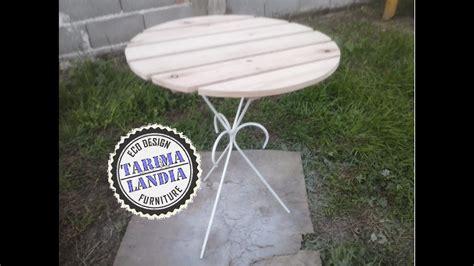como hacer una mesa redonda de jardin  maderas de palet