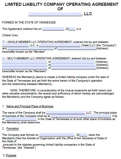 tennessee llc operating agreement template  word