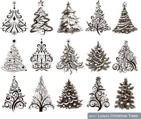 hand drawn christmas tree mix design vector free vector