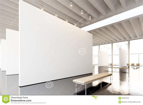 image exposition modern gallery open space blank white empty canvas hanging contemporary