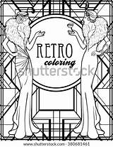 Flapper Retro Coloring Twenties Roaring 20s Vector Adults Illustration Template Illustrations Outlines Invitation Cartoon Vectors Shutterstock Isolated Recreation Footage sketch template