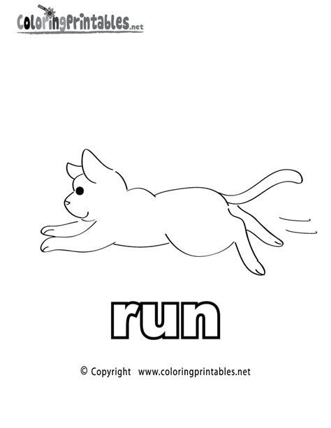 printable verb run coloring page
