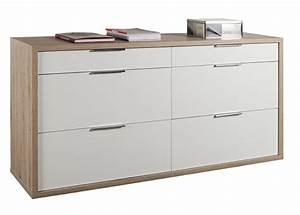 Commode à Tiroirs : commode 6 tiroirs grazia chene clair blanc brillant ~ Teatrodelosmanantiales.com Idées de Décoration