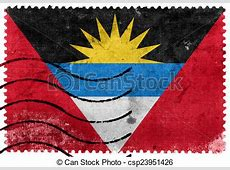 Antigua and barbuda flag old postage stamp clip art
