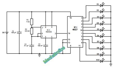 led light chaser circuit diagram led chaser circuit using 4017 decade counter mechatrofice