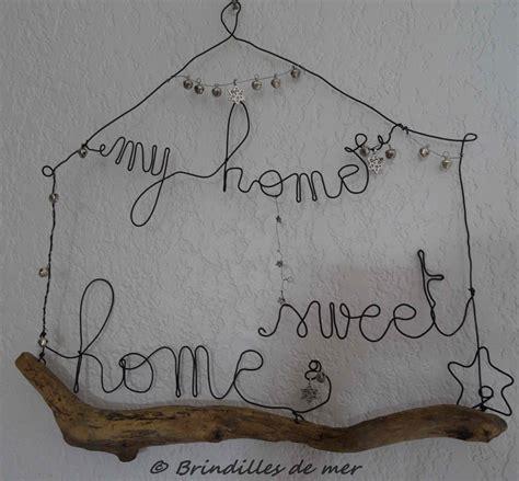 tableau my home sweet home en bois flott 233 et fil de fer sur commande d 233 corations murales par