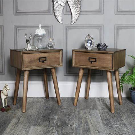 retro bedside table ls pair of brown wooden retro style 1 drawer bedside tables