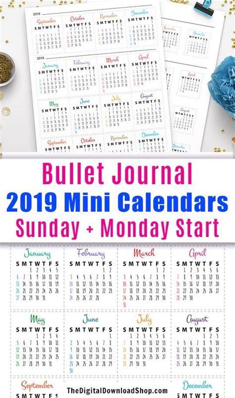 bullet journal mini calendars printable planners