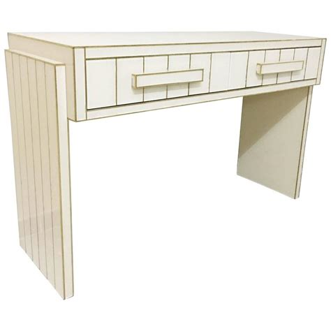 glass writing desk with drawers two drawer mirrored glass and brass writing desk console
