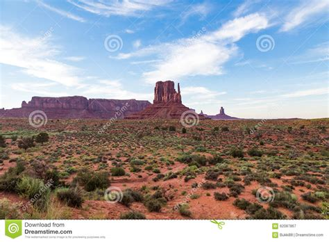 monument valley landscape at dusk stock photo