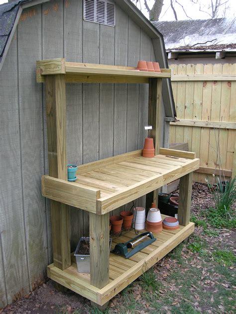 plans outdoor potting bench plans diy free