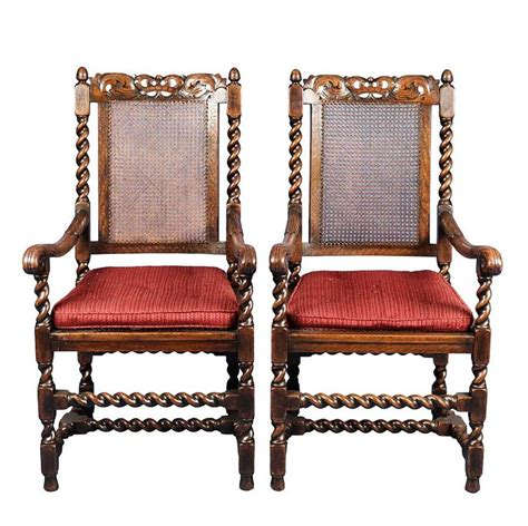 antique pair  king  queen carved oak dining chairs