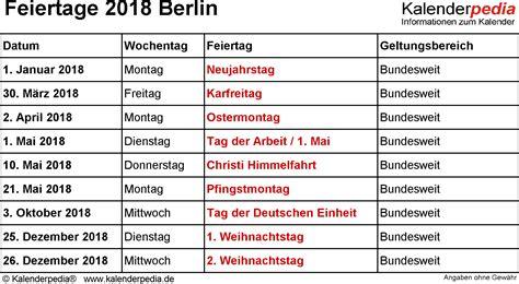feiertage berlin mit druckvorlagen