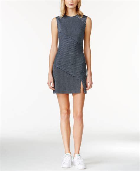 sleeveless sheath striped dress roy striped paneled mini sheath dress in
