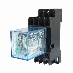 DHDL MY4NJ DC 24V Coil Power Relay DIN Rail Mounted 14 Pin