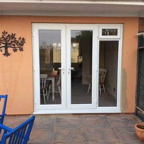 white french doors  side opening windows
