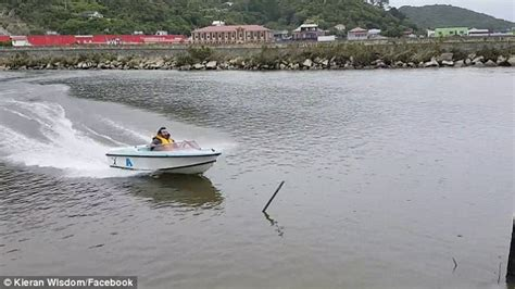 Boat Crash Into Pole by Boat Driving On New Zealand Inlet Crashes Into Wooden Pole