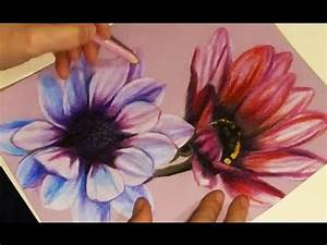 Speed Drawing - Painting Two Flowers with Colored Pencils ...