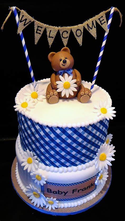 teddy bear gingham baby shower cake cakecentralcom