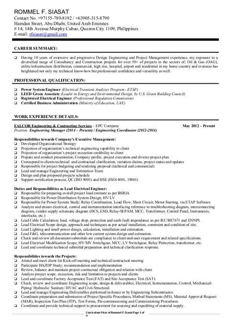 Lead Project Engineer Resume by Cv Engineering Manager Lead Electrical Eng Rfsiasat