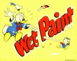 Donald Duck Wet Paint Sign