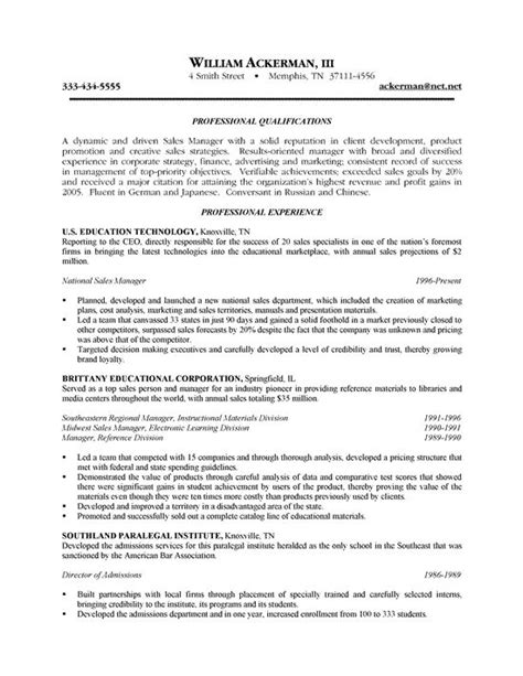 Sle Of A Resume by Outside Sales Resume Exle Resume Writing Exles