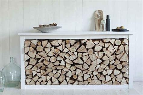decoration cuisine meuble bois de chauffage rangement bois de chauffage