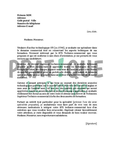 bts cuisine alternance lettre de motivation pour un bts technico commercial pratique fr