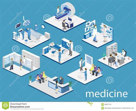 bureau du s駭at chambre d 39 hôpital intérieure plate isométrique pharmacie bureau du s de docteur mri fonctionnant illustration stock image 89501745