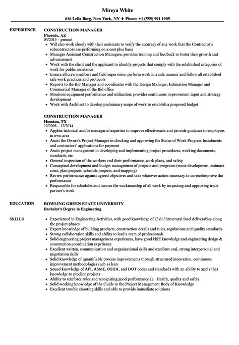 Construction Manager Resume by Construction Manager Resume Sles Velvet