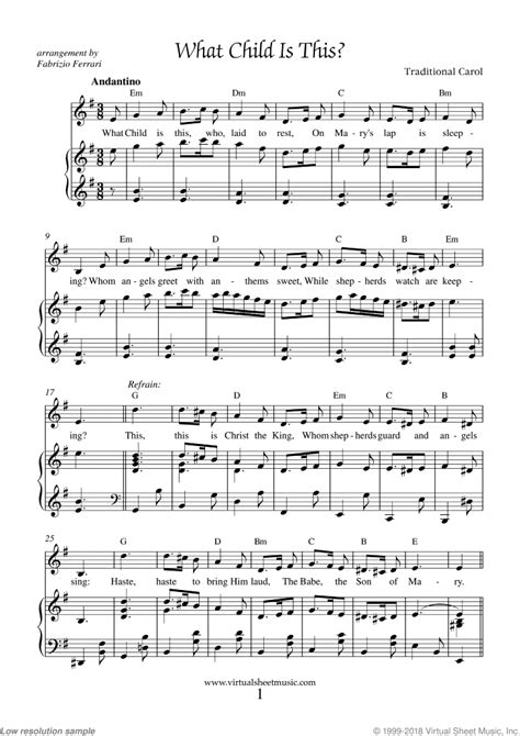 what child is this piano sheet music easy with lyrics pdf