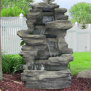 Outdoor water fountains backyard garden water fountains for Outdoor patio fountains