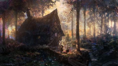 house forest river trees artwork fantasy art cabin
