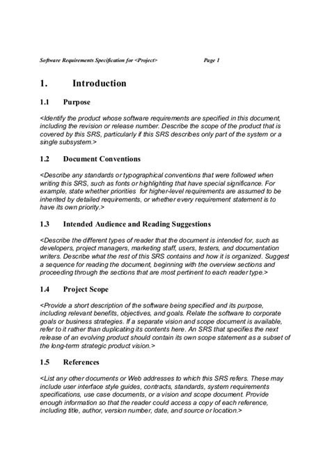 Srs Software Requirement Specification Template by Srs Software Requirement Specification Template