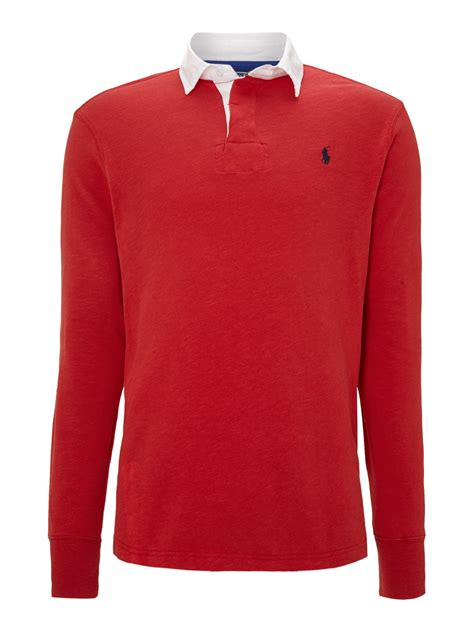 polo ralph lauren classic custom fit rugby shirt  red