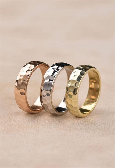 14k solid gold textured wedding ring rose gold hammered