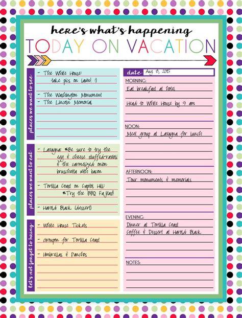 printable daily  weekly vacation calendars