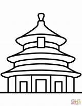 Temple Coloring Beijing Heaven China Chinese Pages Printable Drawing sketch template