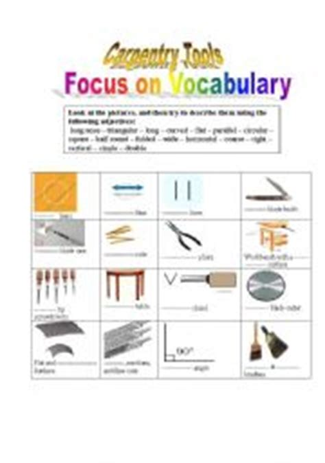 carpentry tools technical english esl worksheet