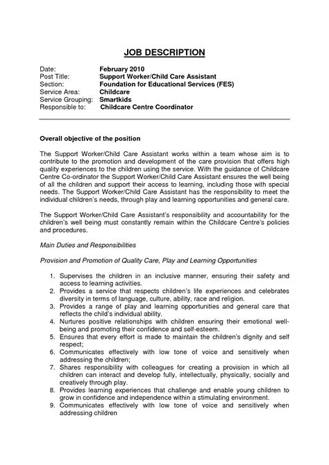 sle child care resume objectives 28 images child care