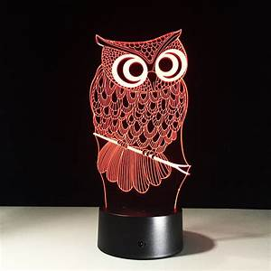 Night Light Acrylic Touch Switch Lamp Owl Minerva Birthday